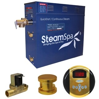 SteamSpa Oasis 4.5 KW QuickStart Steam Bath Generator Package with Built-in Auto Drain in Polished Gold