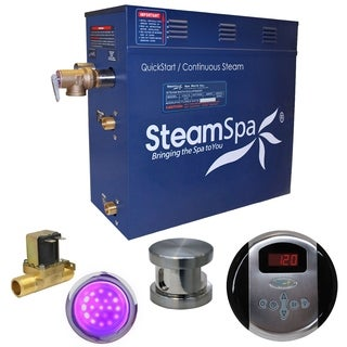 SteamSpa Indulgence 4.5 KW QuickStart Steam Bath Generator Package with Built-in Auto Drain in Brushed Nickel