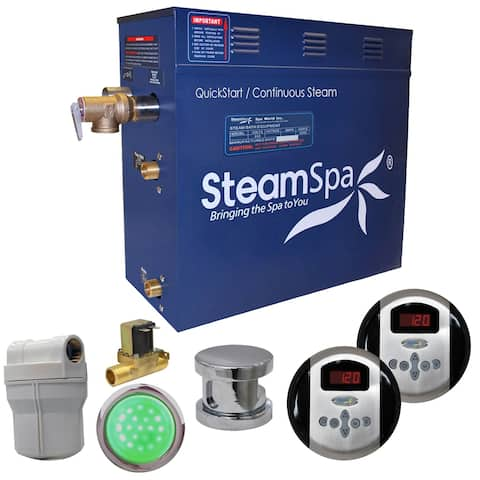 SteamSpa Royal 6 KW QuickStart Steam Bath Generator Package with Built-in Auto Drain in Polished Chrome