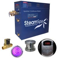 SteamSpa Indulgence 7.5 KW QuickStart Steam Bath Generator Package with Built-in Auto Drain in Brushed Nickel