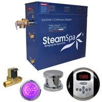 SteamSpa Indulgence 7.5 KW QuickStart Steam Bath Generator Package with Built-in Auto Drain in Polished Chrome