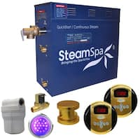 SteamSpa Royal 7.5 KW QuickStart Steam Bath Generator Package with Built-in Auto Drain in Polished Gold