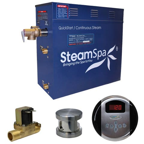 SteamSpa Oasis 9 KW QuickStart Steam Bath Generator Package with Built-in Auto Drain in Brushed Nickel