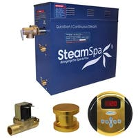 SteamSpa Oasis 9 KW QuickStart Steam Bath Generator Package with Built-in Auto Drain in Polished Gold