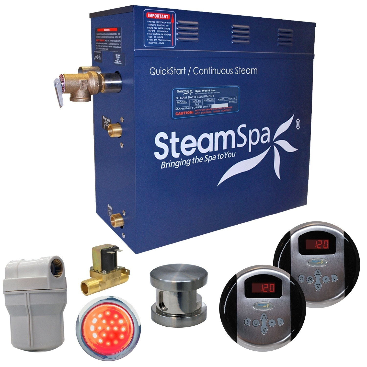 SteamSpa Royal 9 KW QuickStart Steam Bath Generator Packa...