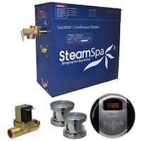 SteamSpa Oasis 10.5 KW QuickStart Steam Bath Generator Package with Built-in Auto Drain in Brushed Nickel