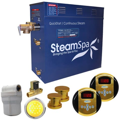 SteamSpa Royal 10.5 KW QuickStart Steam Bath Generator Package with Built-in Auto Drain in Polished Gold