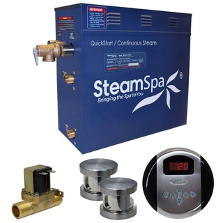 SteamSpa Oasis 12 KW QuickStart Steam Bath Generator Package with Built-in Auto Drain in Brushed Nickel