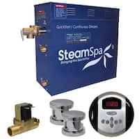 SteamSpa Oasis 12 KW QuickStart Steam Bath Generator Package with Built-in Auto Drain in Polished Chrome