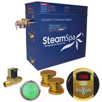 SteamSpa Indulgence 12 KW QuickStart Steam Bath Generator Package with Built-in Auto Drain in Polished Gold