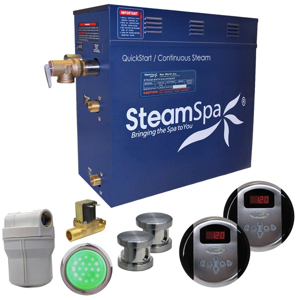SteamSpa Royal 12 KW QuickStart Steam Bath Generator Package with Built-in Auto Drain in Brushed Nickel 16192031