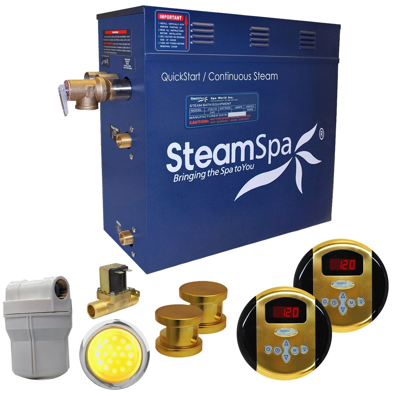 SteamSpa Royal 12 KW QuickStart Steam Bath Generator Pack...