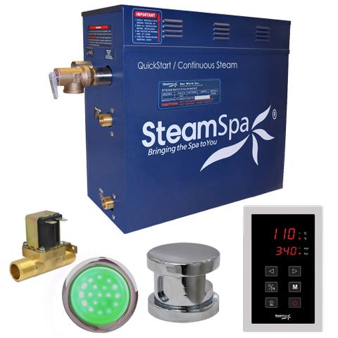 SteamSpa Indulgence 6 KW QuickStart Steam Bath Generator Package with Built-in Auto Drain in Polished Chrome