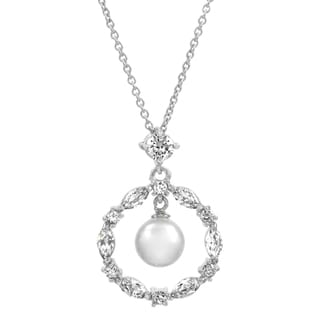 Bridal Jewelry: Circle CZ & Drop pearl Necklace