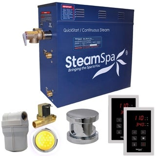SteamSpa Royal 9 KW QuickStart Steam Bath Generator Package with Built-in Auto Drain in Polished Chrome