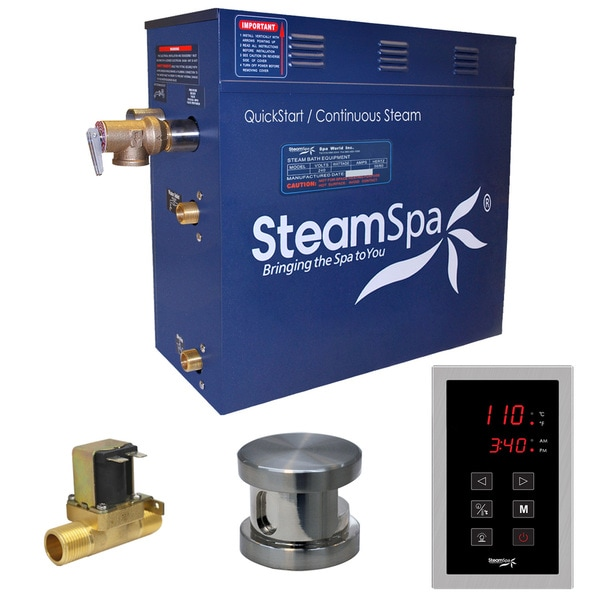 SteamSpa Oasis 4.5 KW QuickStart Steam Bath Generator Package with Built-in Auto Drain in Brushed Nickel 16192130