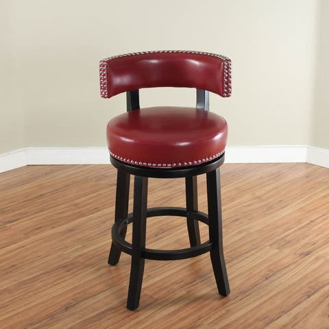 Mossoro Swivel Faux Leather Upholstered Wood Counter Stool