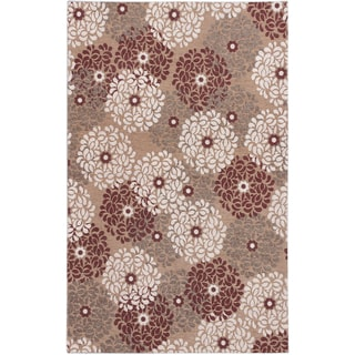 Ecarpetgallery Portico Beige Dark Red Floral Rug (5'0 x 8'0)