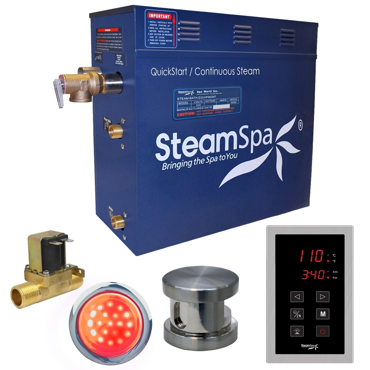 Steamspa Indulgence 7 5 Kw Quickstart Steam Bath Generator Package With Built In Auto Drain In Brushed Nickel On Sale Overstock 10536045