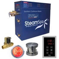 SteamSpa Indulgence 9 KW QuickStart Steam Bath Generator Package with Built-in Auto Drain in Brushed Nickel