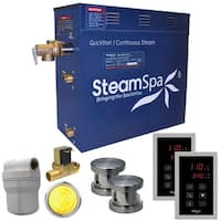 SteamSpa Royal 12 KW QuickStart Steam Bath Generator Package with Built-in Auto Drain in Brushed Nickel
