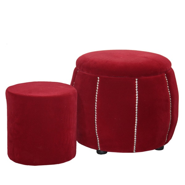 17 5 Inch Red Pumpkin Seating Ottoman With Extra