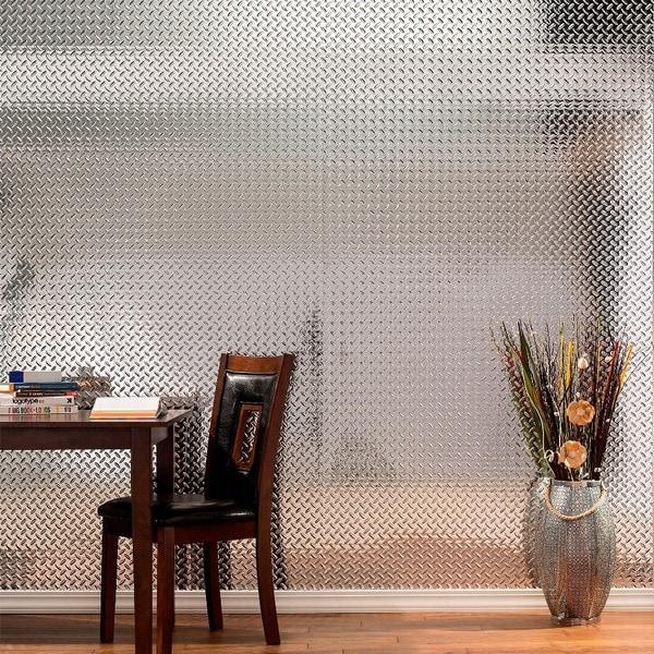 Fasade Diamond Plate Chrome 4 X 8 Ft. Wall Panel