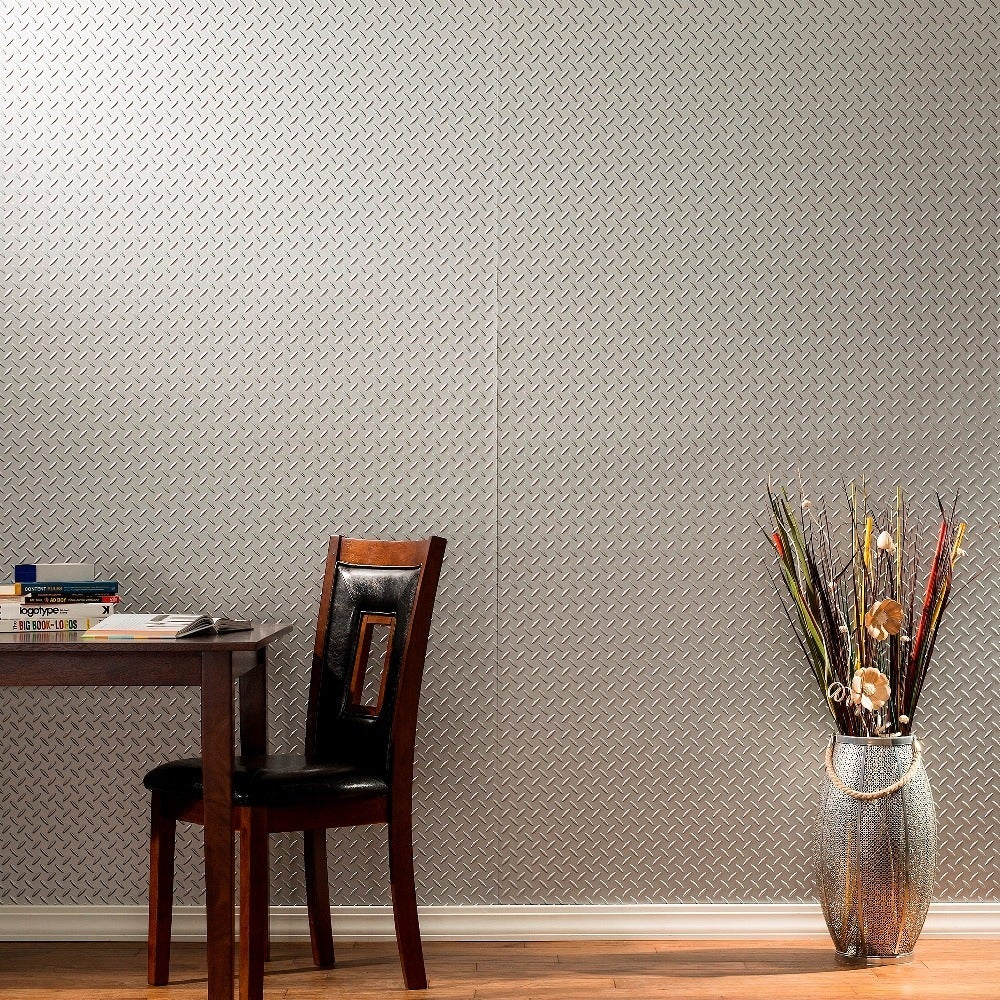 Fasade Diamond Plate Argent Silver 4-foot x 8-foot Wall Panel (Sample)