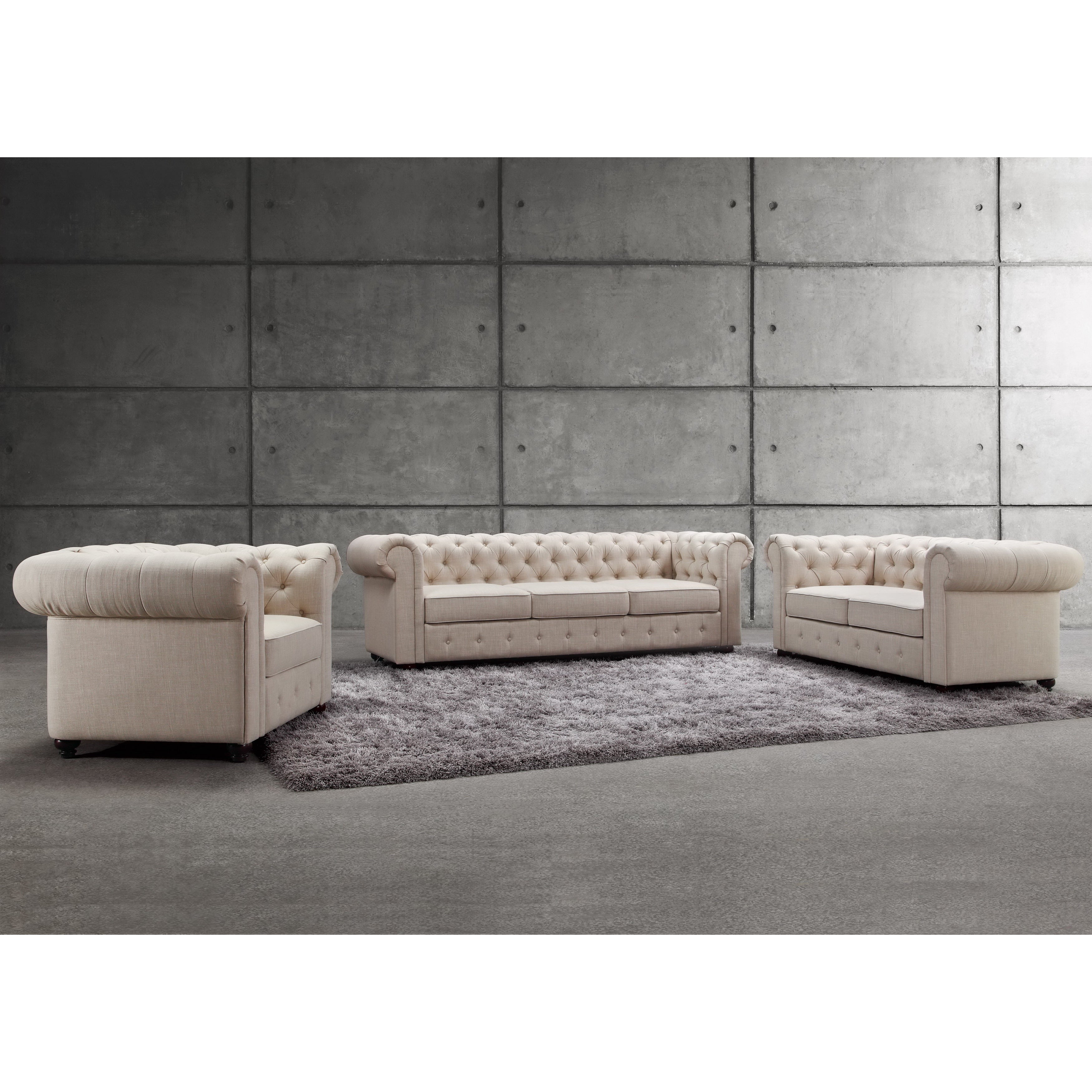 Garcia Deeply Hand-tufting Rolled Arms 3 Piece Sofa Set