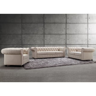 Garcia Deeply Hand-tufting Rolled Arms Sofa Set
