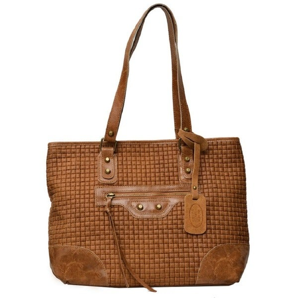 151dd83ea0c2 Deleite by Sharo Brown Honey Mustard Italian Leather Woven Tote Bag - Navy  Blue - Large