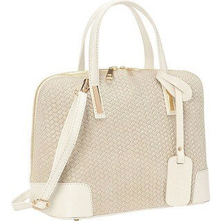 Small Beige Genuine Italian Leather Handbag