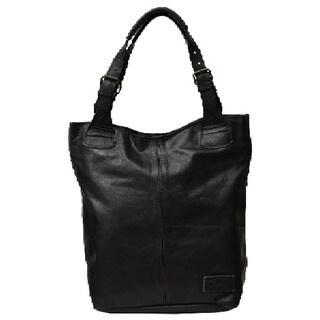 Black Soft Leather Handbag Tote