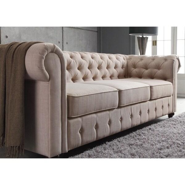 Moser Bay Furniture Garcia Beige Chesterfield Rolled Arm Sofa