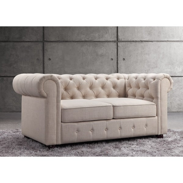Garcia Beige Button Tufted Rolled Arms Loveseat