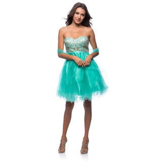 DFI Women's Short Strapless Empire Waist Evening Gown