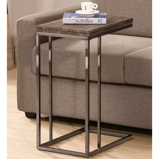 Java Weathered Wood Swivel Expendable Flip Top Snack Side Table