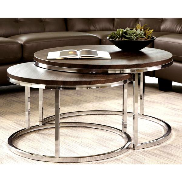 Mergot modern chrome 2 piece cocktail round nesting table for Round stacking coffee table