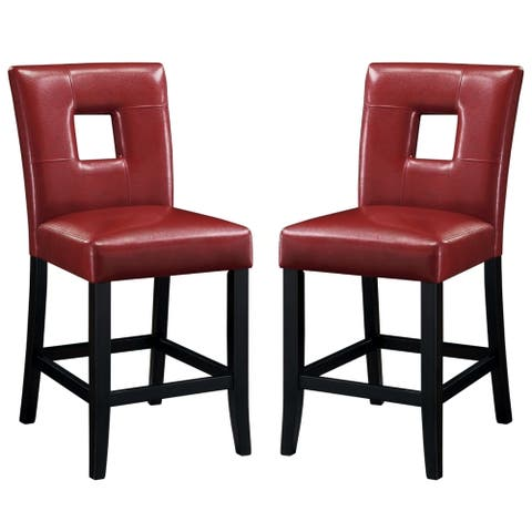 Epcot Open Back Red Upholstered Counter Height Dining Stools (Set of 2)