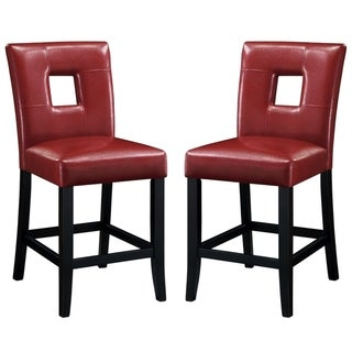 Epcot Open Back Red Upholstered Counter Height Stools (Set of 2)
