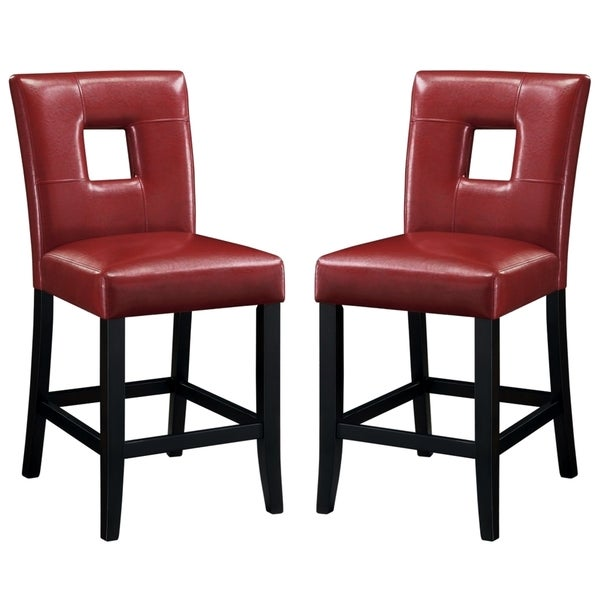 Epcot Open Back Red Upholstered Counter Height Stools Set Of 2