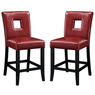 Merveilleux Epcot Open Back Red Upholstered Counter Height Stools (Set Of 2)