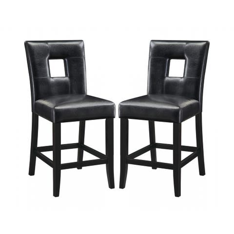 Epcot Open Back Black Upholstered Counter Height Stools (Set of 2)