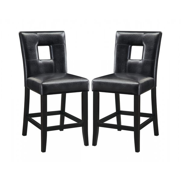 Epcot Open Back Black Upholstered Counter Height Stools Set Of 2