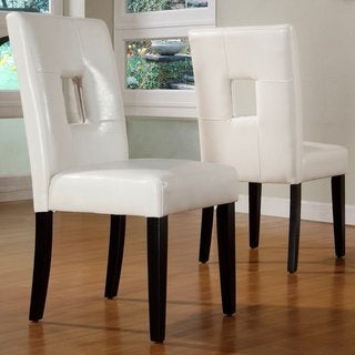 Epcot Open Back Cream/ White Upholstered Dining Chairs (Set of 2)