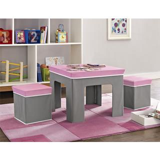 Altra Jamie Pink and Grey Kids Folding Table and Ottoman Set by Cosco