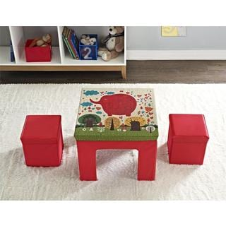 Altra Jamie Red Folding Kids Table/ Ottoman Set by Cosco