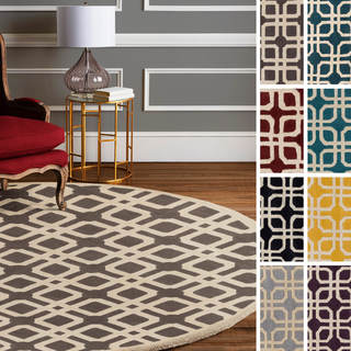 Hand-Tufted Brigg Crosshatched Wool Area Rug - 4' x 4'