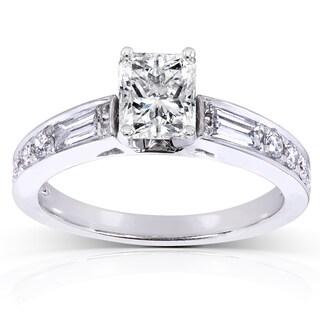 Annello by Kobelli 14k White Gold 1 1/2ct TDW Radiant Diamond Engagement Ring (H-I, I1-I2