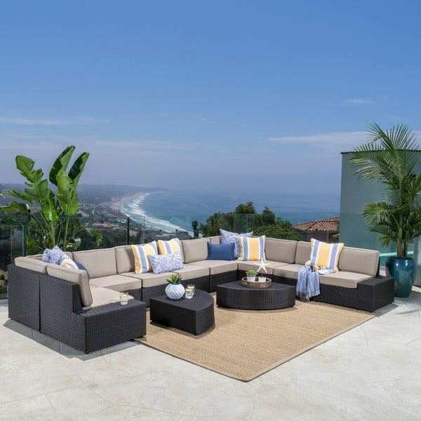 Santa Cruz Outdoor 12 Piece Brown Wicker Sofa Set With Cushions By  Christopher Knight Home